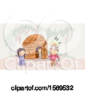 Clipart Of A Group Of Apache Native American Children Near A Wigwam Royalty Free Vector Illustration