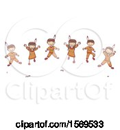 Clipart Of A Sketched Group Of Native American Children Jumping Royalty Free Vector Illustration