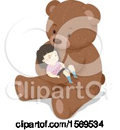 Clipart Of A Toddler Girl Sleeping In The Arms Of A Giant Teddy Bear Royalty Free Vector Illustration by BNP Design Studio