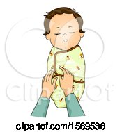 Clipart Of A Baby Boy Being Swaddled Royalty Free Vector Illustration