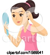 Clipart Of A Teen Girl Holding A Mirror And Plucking Her Eyebrows Royalty Free Vector Illustration