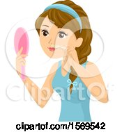 Clipart Of A Teen Girl Holding A Mirror And Waxing Her Upper Lip Royalty Free Vector Illustration