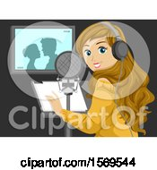 Clipart Of A Teen Girl Performing Voice Over In A Movie Royalty Free Vector Illustration