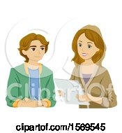 Clipart Of A Teen Guy Having His Mother Read His Report Royalty Free Vector Illustration