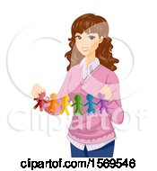 Clipart Of A Female Teacher Holding Colorful Cut Out Paper Dolls As Support For LGBTQ Royalty Free Vector Illustration
