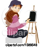 Clipart Of A Teen Girl Artist Using A Tablet Royalty Free Vector Illustration