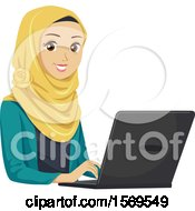 Clipart Of A Teen Muslim Girl Using A Laptop Royalty Free Vector Illustration