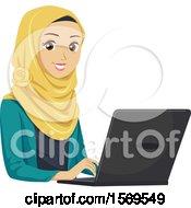 Teen Muslim Girl Using A Laptop