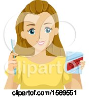 Clipart Of A Teen Girl Brushing Her Teeth With Baking Soda Royalty Free Vector Illustration