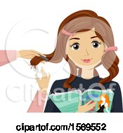 Clipart Of A Teen Girl Getting A Hair Cut And Reading A Magazine Royalty Free Vector Illustration