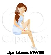 Clipart Of A Teen Girl Shaving Her Legs Royalty Free Vector Illustration