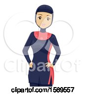 Clipart Of A Teen Muslim Girl In A Swimsuit Royalty Free Vector Illustration