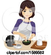 Clipart Of A Teen Girl Making Matcha Green Tea Royalty Free Vector Illustration