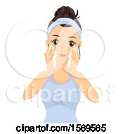 Clipart Of A Teen Girl Washing Her Face With Foam Royalty Free Vector Illustration