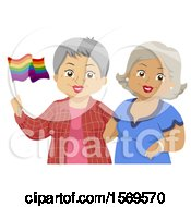 Happy Senior Lesbian Couple Holding A Rainbow LGBTQ Flag