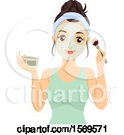 Clipart Of A Teen Girl Applying A Face Mask With A Brush Royalty Free Vector Illustration