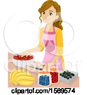 Clipart Of A Teen Girl Preserving Fruit Royalty Free Vector Illustration