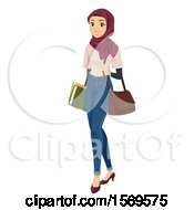 Clipart Of A Teen Muslim Girl Carrying School Books And A Bag Royalty Free Vector Illustration