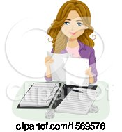 Clipart Of A Teen Girl Student Organizing Her Notes Royalty Free Vector Illustration