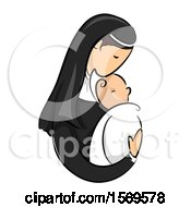 Clipart Of A Sketched Nun Holding A Baby Royalty Free Vector Illustration