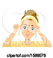 Clipart Of A Teen Girl Threading Her Eyebrows Royalty Free Vector Illustration