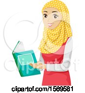 Clipart Of A Teen Muslim Girl Reading A Book Royalty Free Vector Illustration