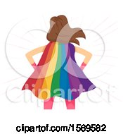 Clipart Of A Rear View Of A Super Woman Wearing A Rainbow Cape Royalty Free Vector Illustration