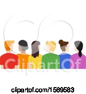 Clipart Of A Rear View Of Teenagers In Colorful Shirts Royalty Free Vector Illustration