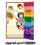 Clipart Of A Group Of Teenagers Welcoming At A Door Royalty Free Vector Illustration