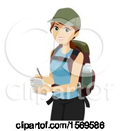 Clipart Of A Teen Girl Student Hiking And Taking Notes Royalty Free Vector Illustration