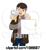 Clipart Of A Teen Girl Using A Megaphone And Holding A Sign Royalty Free Vector Illustration