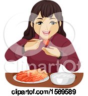 Clipart Of A Teen Girl Eating Kimchi With Chopsticks Royalty Free Vector Illustration