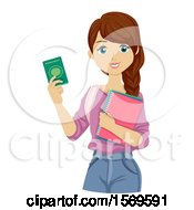 Clipart Of A Teen Girl Foreign Student Holding A Pasport Royalty Free Vector Illustration