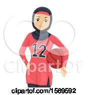 Clipart Of A Teen Girl In A Basketball Uniform Royalty Free Vector Illustration