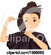 Clipart Of A Teen Girl Cutting Her Own Hair Royalty Free Vector Illustration