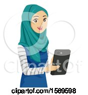 Teen Muslim Girl Using A Tablet