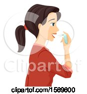 Clipart Of A Teen Girl Using Fresh Breath Spray Royalty Free Vector Illustration