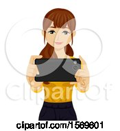 Clipart Of A Teen Girl Holding Out Her Cell Phone To Take A Picture Royalty Free Vector Illustration