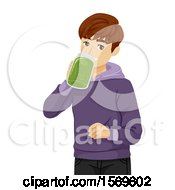 Clipart Of A Teen Guy Drinking A Green Smoothie Royalty Free Vector Illustration