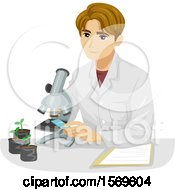 Clipart Of A Teen Guy Botanist Looking At A Plant Specimen Under A Microscope Royalty Free Vector Illustration