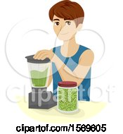 Clipart Of A Teen Guy Making Broccoli Sprouts Smoothies Royalty Free Vector Illustration