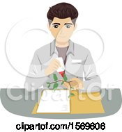 Clipart Of A Teen Guy Botanist Setting Up An Herbarium Royalty Free Vector Illustration