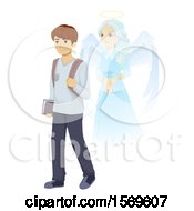 Clipart Of A Teen Guy Student And Guardian Angel Royalty Free Vector Illustration