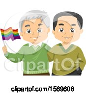 Happy Senior Gay Couple Holding A Rainbow LGBTQ Flag