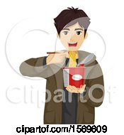 Teen Guy Eating A Cup Of Instant Noodles With Chopsticks