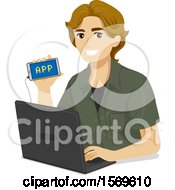 Clipart Of A Teen Guy Showing His Mobile App He Programmed On His Laptop Royalty Free Vector Illustration