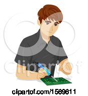 Clipart Of A Teen Guy Using An Electronics Solder On Computer Chips Royalty Free Vector Illustration