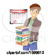 Clipart Of A Teen Guy Student Carrying Books Royalty Free Vector Illustration by BNP Design Studio
