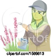 Clipart Of A Teen Guy Botanist Collecting Samples From A Plant Royalty Free Vector Illustration