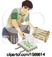 Clipart Of A Teen Guy Botanist Pressing Collected Plant Samples For A Herbarium Royalty Free Vector Illustration